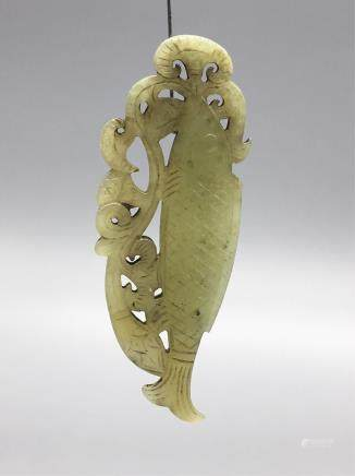 CHINESE JADE CARVED FISH PENDANT