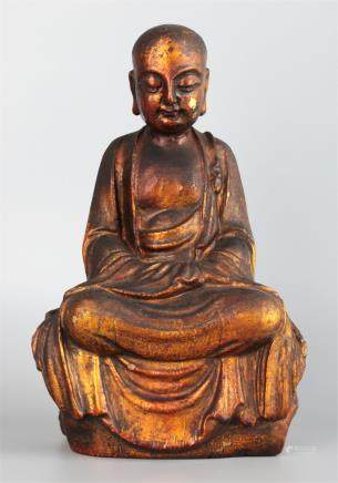 CHINESE CARVED WOODEN FIGURE OF LUOHAN