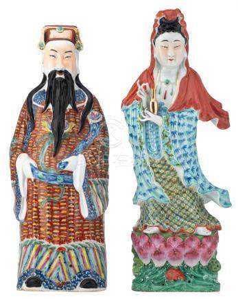 Two Chinese polychrome decorated figures, depicting Lu Xing and a Guanyin, one figure marked, H 62 - 62,5 cm