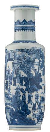 A large Chinese blue and white rouleau shaped vase, overall decorated with an animated scene in a garden with a pavilion, H 75 cm