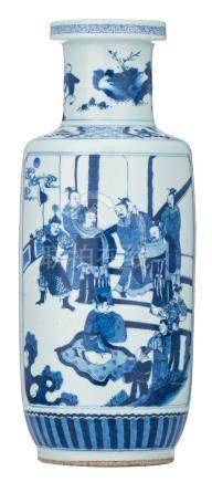 A Chinese blue and white rouleau shaped vase, one panel decorated with a court scene, the other panel with literati in a garden, H 48 cm