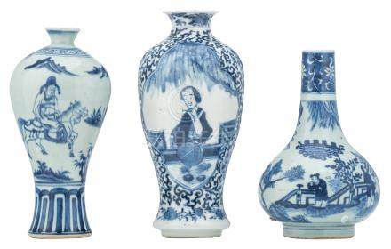 A Chinese blue and white floral baluster shaped vase, the roundels decorated with a lady in a garden, marked Kangxi; added two ditto celadon ground vases, decorated with an animated scene, H 19,5 - 23,5 cm
