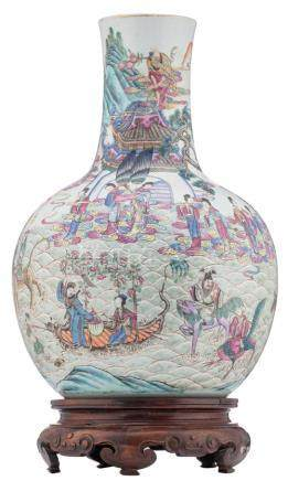A Chinese famille rose bottle vase, decorated with Immortals in their habitat, 19thC, on a matching carved wooden base, H 51,5 (without base) - 60,5 cm (with base)