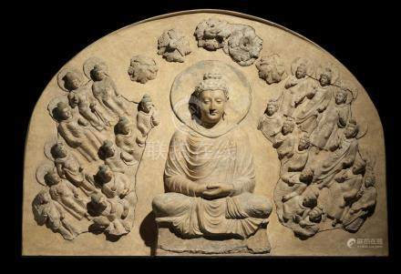 A STUCCO PANEL OF BUDDHA SURROUNDED BY  BUDDHAS AND BODHISATTVAS  ANCIENT REGION OF GANDHARA, 4TH/5TH CENTURY
