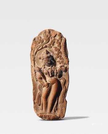A TERRACOTTA PLAQUE OF A GODDESS FROM A BUDDHIST SHRINE SWAT VALLEY OR KASHMIR, 8TH/9TH CENTURY