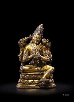 A GILT COPPER ALLOY FIGURE OF MAITREYA NORTHEASTERN INDIA, PALA PERIOD, 11TH/12TH CENTURY