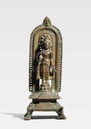 A COPPER ALLOY SHRINE TO CROWNED BUDDHA NORTHEASTERN INDIA, PALA PERIOD, 12TH CENTURY