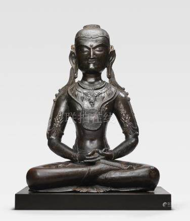 A COPPER ALLOY FIGURE OF AMITAYUS  TIBET, 13TH/14TH CENTURY