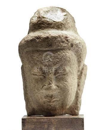 A CHINESE STONE HEAD OF A BODHISATTVA