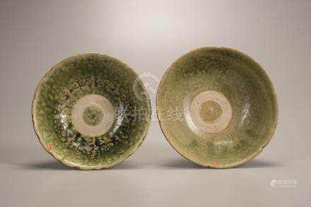 TWO CELADON-GLAZED FOLIATE-RIMMED BOWLS