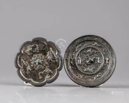TWO SMALL BRONZE SCHOLAR MIRRORS