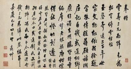 翁方綱 1733-1818 行書《因錢雲壽孝廉南歸屬其訪拓停雲銘帖原石》詩
