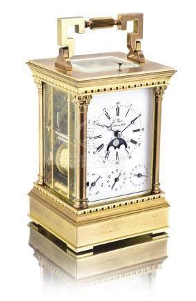 鍍金報時座鐘備音樂鬧鐘、日期、星期及月相顯示,編號10131322,年份約2010。
