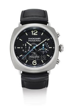 PAM00343型號「RADIOMIR REGATTA 1/8TH SECOND TITANIO」限量版鈦金屬自動上鏈追針計時腕錶備1/8秒計時,編號M130/500,年份約2010。