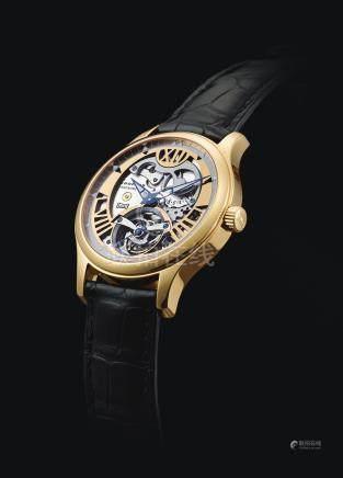 161901型號「L.U.C STEEL WINGS」限量版粉紅金鏤空陀飛輪腕錶備8日動力儲存顯示,機芯編號111910,錶殼編號1525274,編號39/100,年份約2004。