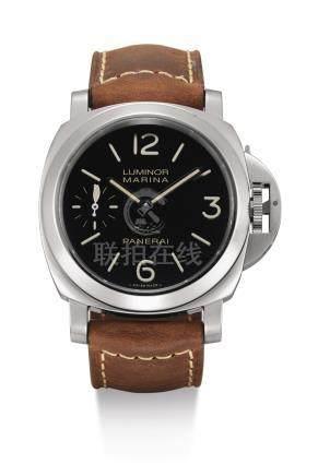 PAM00464型號「LUMINOR MARINA LAS VEGAS」專門店版精鋼腕錶備雕刻錶背蓋,編號O072/100,年份約2013。