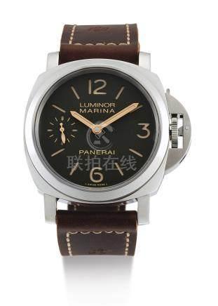 "PAM00911型號「LUMINOR MARINA ""LAST ONE FOR PANERISTI""」限量版精鋼腕錶備8日動力儲存,為PANERISTI限量製造500隻,編號T168/500,年份約2018。"
