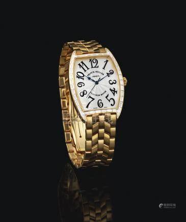 2852 SC BAG型號「CINTREE CURVEX」黃金鑲鑽石鍊帶腕錶,編號08,年份約1999。