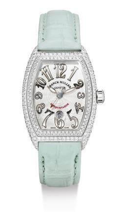 8002 L SC D型號「CONQUISTADOR」白金鑲鑽石腕錶備日期顯示,編號259,年份約2008。