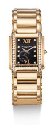 4910/11R-001型號「TWENTY~4」粉紅金鑲鑽石錬帶腕錶,機芯編號1664389,錶殼編號4123250,年份約2000。