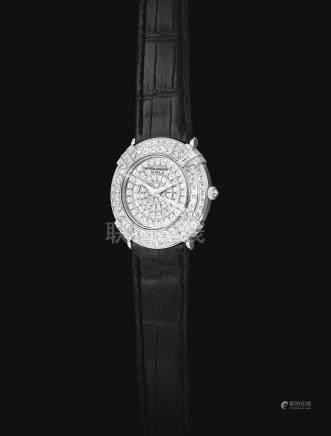 白金及鑲鑽石腕錶,錶殼編號674642,年份約2010。