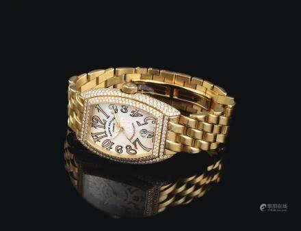 8002 SC D型號「CONQUISTADOR」黃金鑲鑽石自動上鏈鍊帶腕錶備日期顯示,編號06,年份約2007。