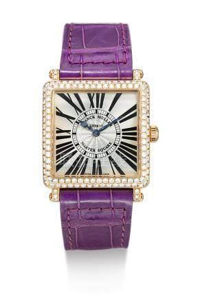 6002 L QZ D型號「MASTER SQUARE」黃金鑲鑽石腕錶,編號100,年份約2009。