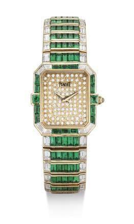 81413型號 罕有黃金鑲鑽石及祖母綠鍊帶腕錶,錶殼編號415070,年份約1987。