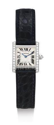 「TANK」白金鑲鑽石腕錶,錶殼編號MG262156,年份約2010。