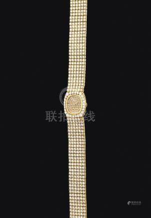 黃金鑲鑽石錬帶腕錶,錶殼編號C17545,年份約1986。