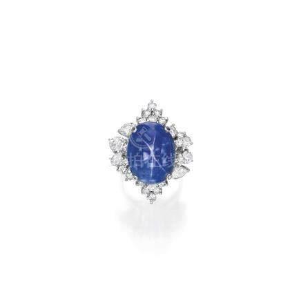 星光藍寶石配鑽石戒指
