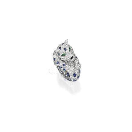 鑽石, 藍寶石 配 祖母綠 及 縞瑪瑙 「豹」戒指, 'Panthère, 卡地亞(Cartier)