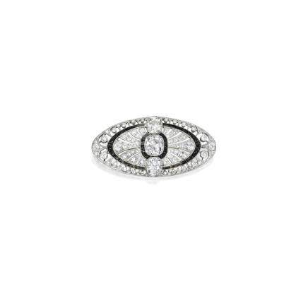 Art Deco 鑽石 配 縞瑪瑙 別針