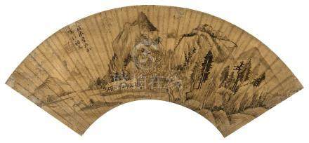 董其昌(明)  1628年作 山水扇面 立轴 水墨金笺纸
