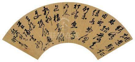 祁豸佳(清)  行书诗 镜框 水墨金笺纸本