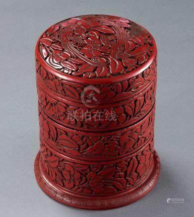 明永乐 剔红绶带花鸟纹三重盒