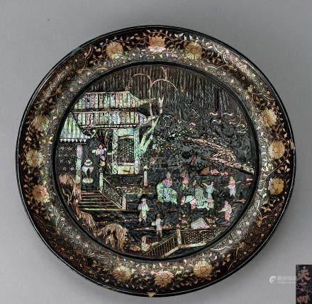 明 螺钿人物楼阁纹香盘