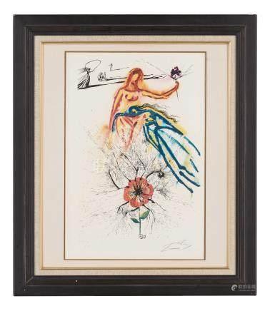 萨尔瓦多·达利(1904~1989)  花与少女 镜框 铜版纸本