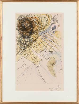 萨尔瓦多·达利(1904~1989)  少女 魔女 镜框 石版纸本