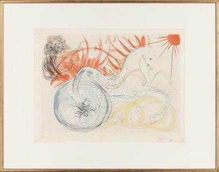 萨尔瓦多·达利(1904~1989)  太阳 白鸟 镜框 石版纸本