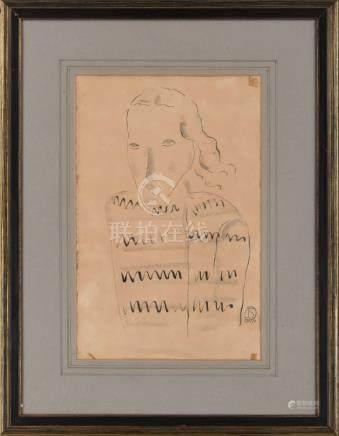常玉(1901~1966)  穿毛衣的女士(素描) 镜框 纸 墨