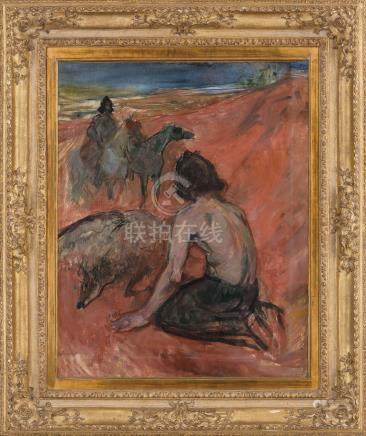 亨利·德·图卢兹·罗特列克(1864~1901)  鹰匠 镜框 油彩 画布