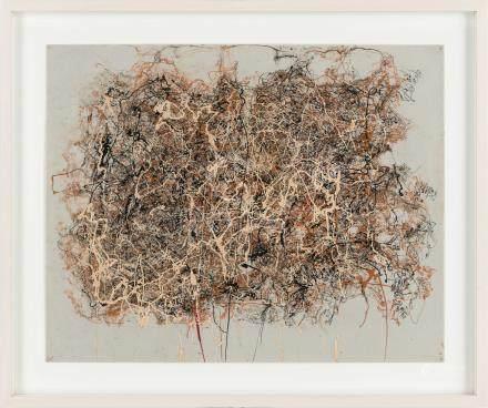 杰克逊・波洛克(1912~1956)  无题 镜框 油彩 合成板