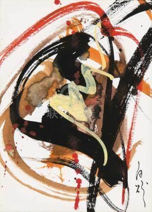 白发一雄(1924~2008)  无题 纸 水粉