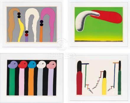 元永定正(1922~2011)  作品 (四帧) 镜框 筛网版画