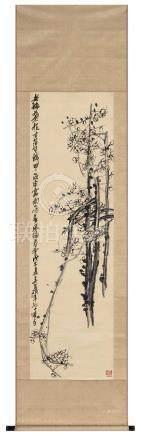 吴昌硕(1844~1927)  1918年作 老梅图 立轴 水墨绫本