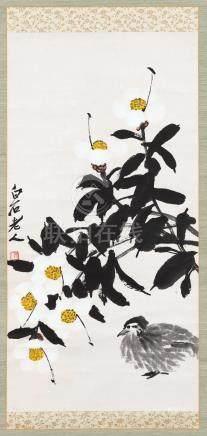 齐白石(1864~1957)  花鸟 立轴 设色纸本