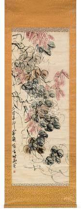 齐白石(1864~1957)  1928年作 豆荚 立轴 设色绢本