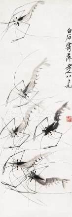 齐白石(1864~1957)  1949年作 六虾图 立轴 水墨纸本