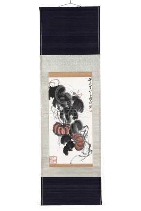 齐白石(1864~1957)  1943年作 南瓜螳螂 立轴 设色纸本